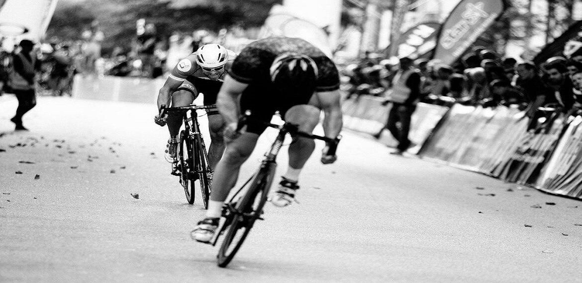 Cyclist battle black white picture
