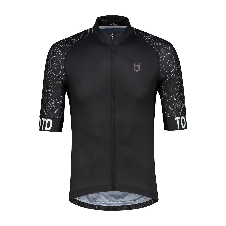 High quality black mechanic cycling jersey td sportswear