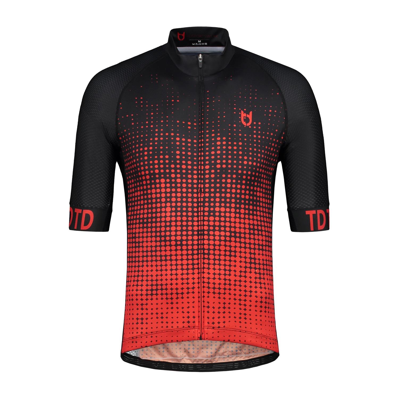 High quality black red cycling jersey td sportswear