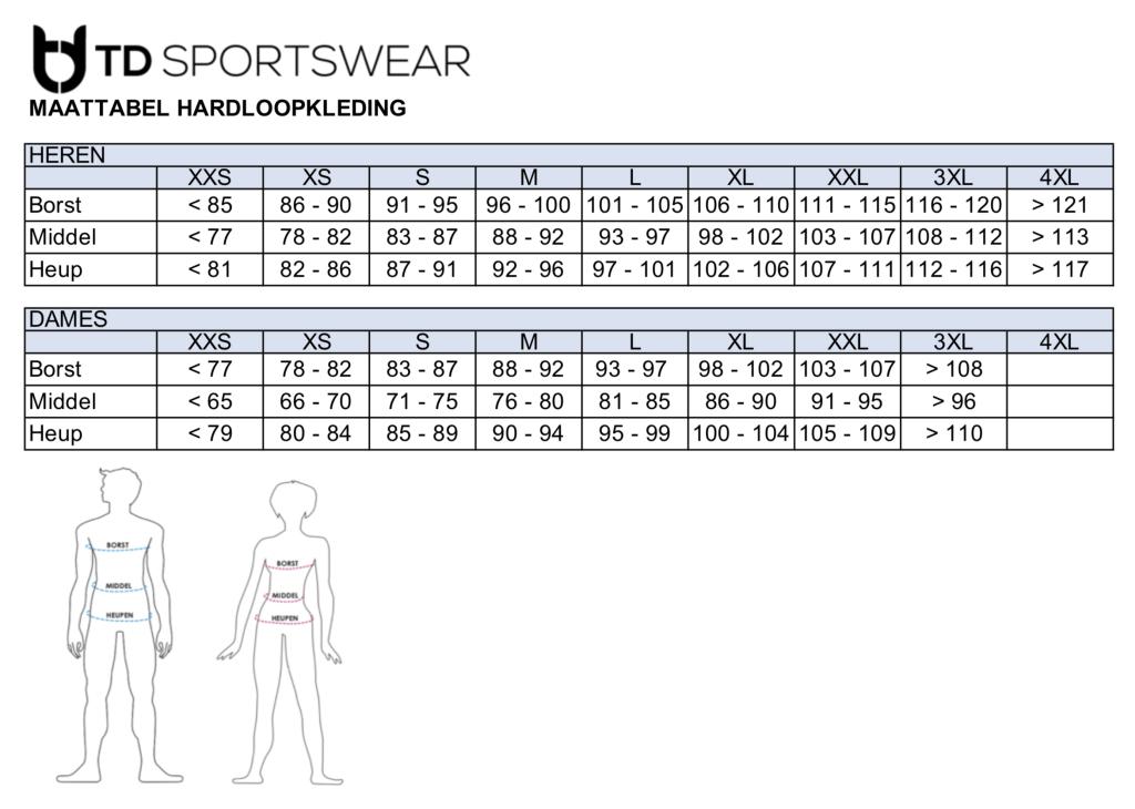 Maattabel hardloopkleding TD sportswear