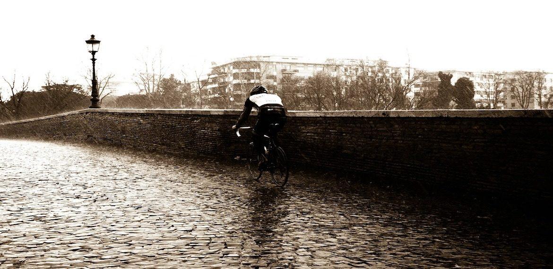 Cyclist rain