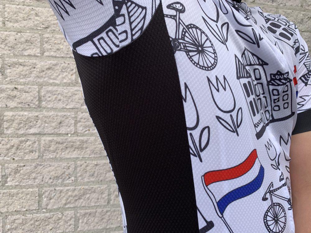 Sport 100 oksel detail foto wielershirt TD sportswear